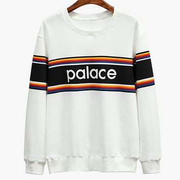 Palace autumn and winter new rainbow striped letters printed loose wild sweater