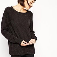 LnA Confetti Speckled Sweater With Long Sleeves - Black