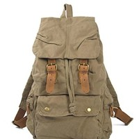 Kattee Canvas + Leather Hiking Camping Military Backpack School Bags