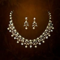 Bridal Gold Necklace Earring Set