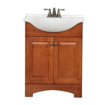 Glacier Bay Chelsea 26.5 in. Vanity in Nutmeg with Porcelain Vanity Top in White with White Basin-CH24EUP2COM-N - The Home Depot