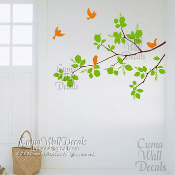Vinyl wall decals branch wall sticker birds tree wall mural nursery children wall decal- branches tree and birds Z118