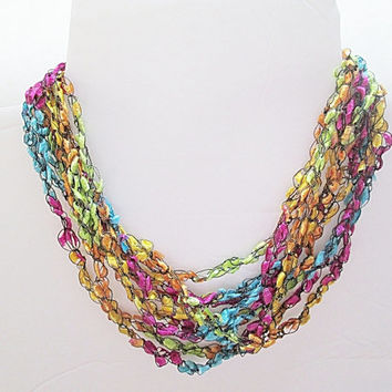 Easter Necklace, Trellis Yarn Ladder Yarn Necklace Ribbon Yarn Necklace