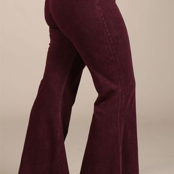 Chatoyant Plus Size Mineral Wash Flare Pants in Burgundy