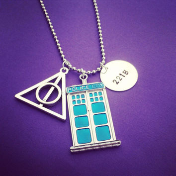 Deathly Hallows TARDIS 221B Necklace Harry Potter Doctor Who Sherlock Inspired Handmade