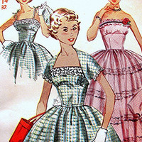 1950s Rockabilly  Dress Pattern Simplicity Misses size 14 UNCUT Vintage Sewing Pattern Strapless Evening Dress with Shrug