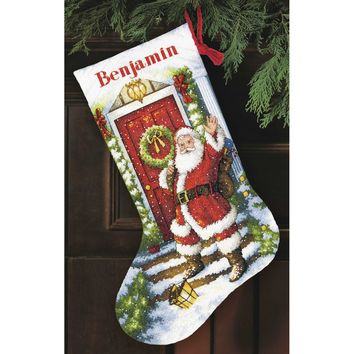 """Welcome Santa Stocking (14 Count) Dimensions Gold Collection Counted Cross Stitch Kit 16"""" Long"""