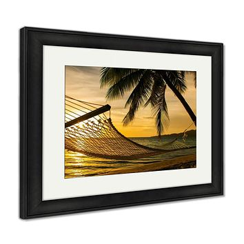 Framed Print, Hammock Silhouette With Palm Trees On A Beach At Sunset
