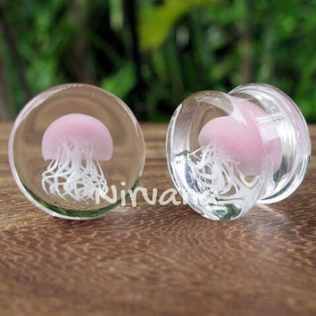 "Pink Pyrex Glass Jellyfish Plugs 0g 00g 7/16"" 1/2"" 9/16"" 5/8"" 3/4"" 1""  8 mm 10 mm 12 mm 14 mm 16 mm 18 mm 20 mm 22 mm 25 mm"
