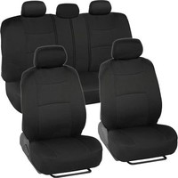 Solid Black Synthetic Leather Seat Covers for Car SUV Auto Two Tone Style