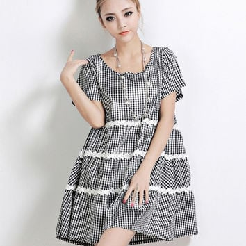 1690 Loose Women's Maternity Plaid Casual Dress Plus Size 3XL 4XL Super Large Pregnant Clothes 2014 New Summer Fashion = 1958612356