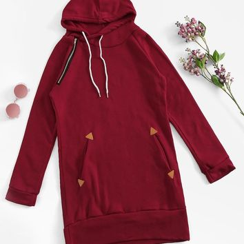 Zip Up Detail Drawstring Hoodie Dress