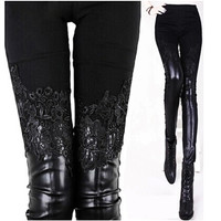 Fashion Lace Leather Patchwork Pants For Women Skinny Pencil Pants Black Solid Leggings Casual Trousers Wear