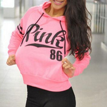 PINK Fashion Long Sleeve Print Monogram Hooded Sweater-1