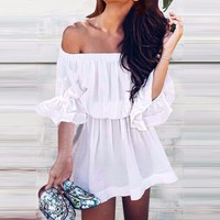 Summer Fashion Women Sexy Pure Color Off Shoulder Dress White