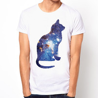 Cosmic Cat Triangle galaxy space cross hype Hipster dope art pop white t-shirt