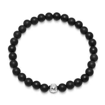Men's Wristband with Matte Onyx and Silver