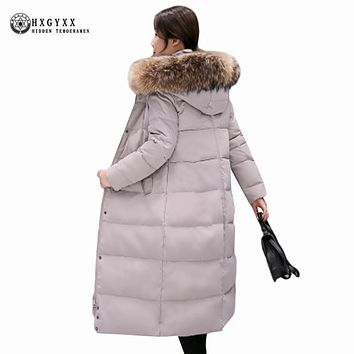 Winter Jacket Women 2017 Plus Size Luxury Raccoon Fur Collar Down Coat Long Hooded Feather Jackets Parka Snow Outerwear Oka739