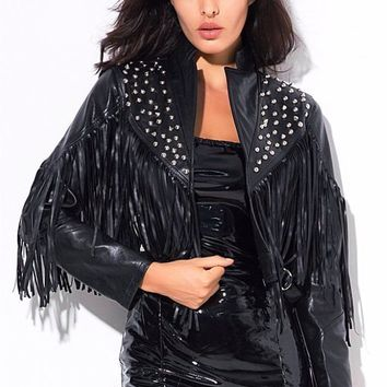 Studded Tassel Faux Leather Jacket Black