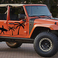 Beach Surfing Surfer Palm Tree Jeep Wrangler Rubicon Car vinyl graphics j016