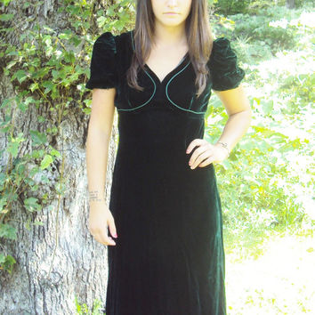 70s VELVET Maxi Dress S / Holiday Dress / Christmas Dress / Hippie