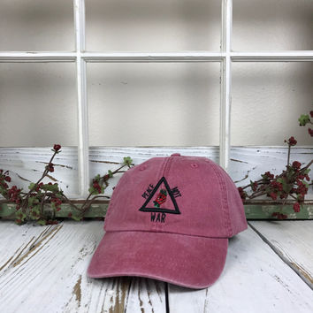 PEACE NOT WAR 3D Triangle Rose Pigmented Dye Washed Baseball Cap Curved Bill Dad Hats Baseball Hat Embroidered Nautica Red