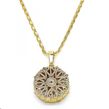 Gold Layered 04.63.1353.18 Fancy Necklace, Heart Design, with White Cubic Zirconia, Diamond Cutting Finish, Golden Tone