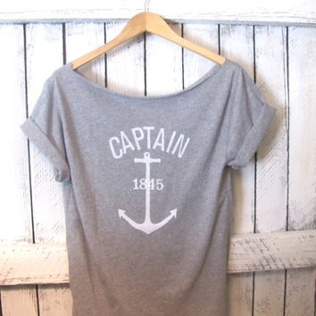 FREE SHIPPING Captain Nautical Anchor Off Shoulder by pebbyforevee