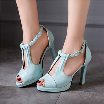 Open Toe Cross Straps Platform Sandals 3435