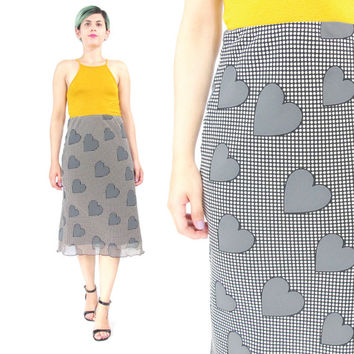 90s Heart Print Skirt Polka Dot Skirt Black and White Skirt Graphic Print Pop Art Skirt High Waisted Midi Skirt Vintage Pencil Skirt (S)
