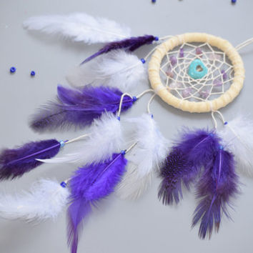 Boho Dreamcatcher, Purple Dreamcatcher, Small dreamcatcher with Amethyst, Turquoise Stone, Native American Inspired/