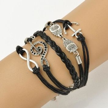 PEAPIX3 Vintage Leather Owl Music Note Anchor Charm Infinity Punk Statement Bracelet New Fashion Jewelry (Size: 17 cm) = 1946144580
