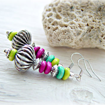 Boho Earrings - Boho Jewelry - Hippie Earrings - Tribal Earrings - Ethnic Earrings - Boho Pink Earrings - Hippie Jewelry