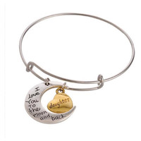 """Beautiful """"I Love You to the Moon and Back Daughter"""" Charm Bangle Bracelet"""