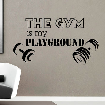 Gym Wall Decal Sayings Vinyl Lettering The Gym Is My Playground Health Sports Fitness Wall Decals Vinyl Stickers Art Mural Home Decor Q104