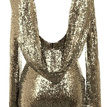 Luxury Drip Dress | Long-Sleeve Gold Sequin Cowl Back Dresses | RicketyRack.com