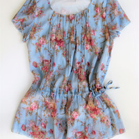 Mayuki Romantic Floral Tunic Top M