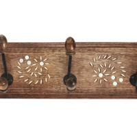 "Mothers Day Gifts Vintage Wall Coat Towel Hooks Hanger 18"" Rack Adorned with Mirror Art Home Decor"