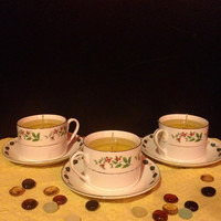 Apple Spice Gel Candle Holly Tea Cup with saucers