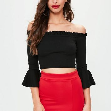 Missguided - Black Bell Arm Top
