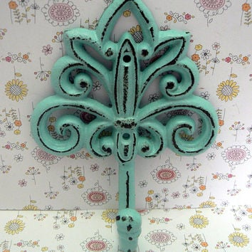 Fleur de lis Cast Iron Light Cottage Beach Blue Wall Hook Ornate French FDL Scroll Paris Shabby Style Chic Leash Jewelry Hat Ornate Bathroom