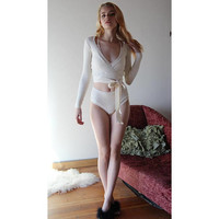 silk cashmere shrug knitted with spandex - made to order
