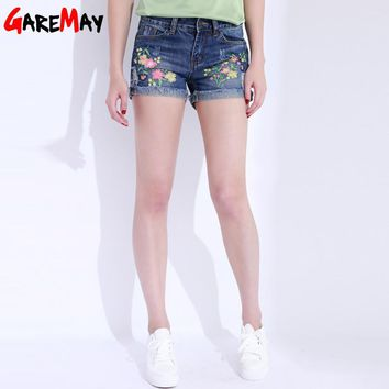 Denim Shorts Embroidery Curling Short Jeans Summer Ripped Women Cotton Straight Shorts Flower Pantaloons