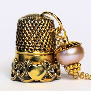 Thimble Necklace in Vermeil (Gold over solid Sterling Silver) with Acorn Kisses Peter Pan and Wendy Second Star Right