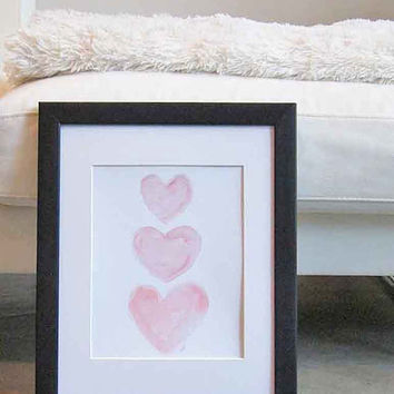 Nursery Art Watercolor Hearts 11x14 Pink Heart Baby Nursery Decor