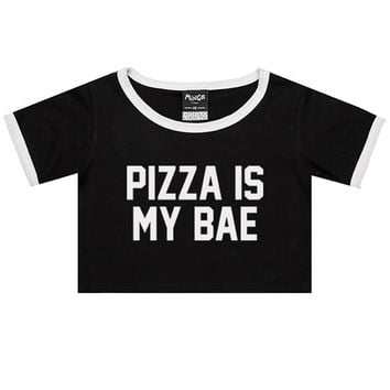 e08d2a7731747 PIZZA is my bae RINGER TEE crop top t shirt womens girl funny fu