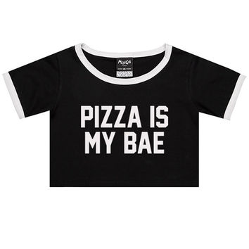 PIZZA is my bae RINGER TEE crop top t shirt womens girl funny fun tumblr hipster swag grunge kale goth new retro vtg fashion indie food fast