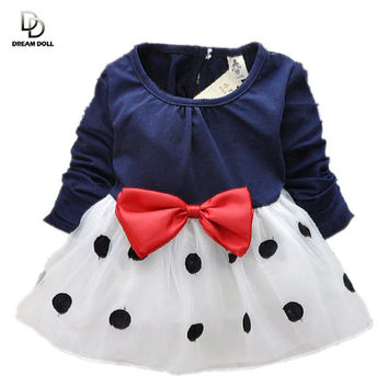 2015 New Cute Baby Girls Dress Cotton and Lace Mini Ball Grown Dresses Kids Clothes For 0-2 Years Baby Bowknot Polk dot dress