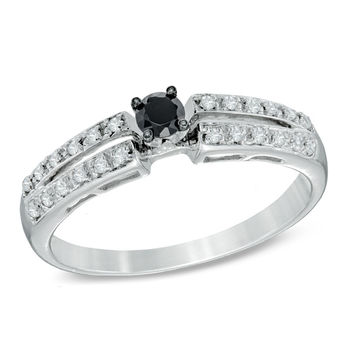 1/4 CT. T.W. Enhanced Black and White Diamond Split Shank Promise Ring in 10K White Gold