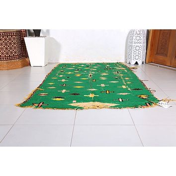 Green Moroccan rug, 4.1ft x 7.2ft